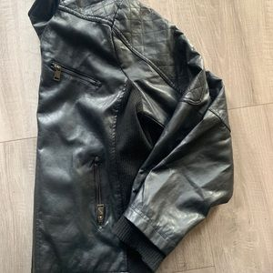 Faux Leather Jacket with silver zippers. 2X